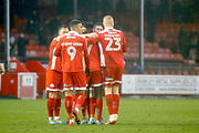 Crawley Town players celebrate a goal from Crawley Town midfielder Enzio Boldewijn (7) (score 3-0) during the EFL Sky Bet League 2 match between Crawley Town and Grimsby Town FC at the Checkatrade.com Stadium, Crawley, England on 10 February 2018. Picture by Andy Walter.