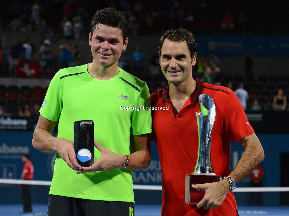 11.01.2015. Brisbane, Queensland, Australia.  Roger Federer (SUI) chalks up his 1000th career win while beating Milos Raonic in the final of the Brisbane tennis competition.