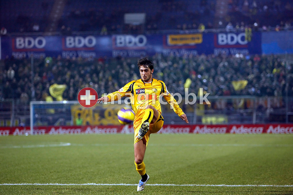 YB's Mario Raimondi (L) plays the ball during the game between FC Zuerich and the BSC Young Boys Bern at the Hardturm stadium in Zurich, Switzerland, Saturday, February 17, 2007. FC Zurich wins the game against BSC Young Boys Bern by one to nil. (Photo by Patrick B. Kraemer / MAGICPBK)