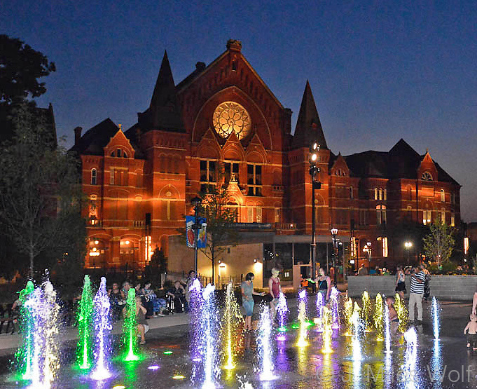 Music Hall at Twilight with the Washington Park fountains