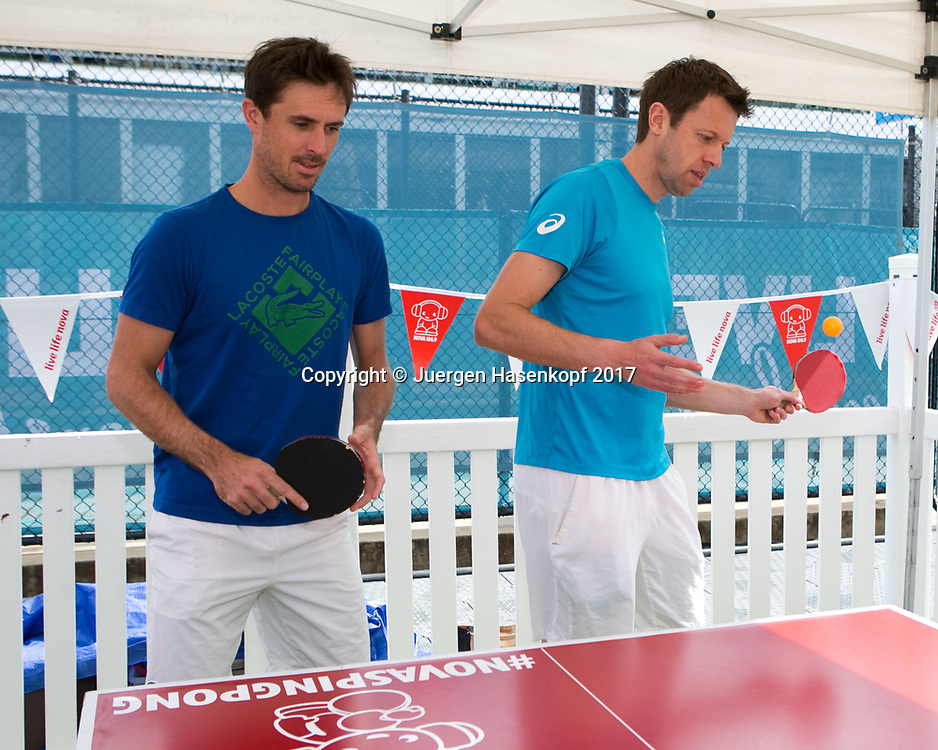DANIEL NESTOR (CAN)-EDOUARD ROGER-VASSELIN (FRA) spielen Tischtennis<br /> <br /> Tennis - Brisbane International  2015 - ATP -  Pat Rafter Arena - Brisbane - QLD - Australia  - 6 January 2017. <br /> &copy; Juergen Hasenkopf