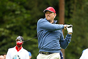 Manchester United  football legend Peter Schmeichel teeing off during the BMW PGA Championship Celebrity Pro-Am Day at the Wentworth Club, Virginia Water, United Kingdom on 25 May 2016. Photo by Simon Davies.