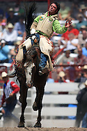 Christopher Harris rides Party Girl in the Bareback Riding Competition, 25 Jul 2007, Cheyenne Frontier Days