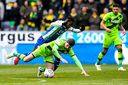 Kenny McLean of Norwich City is fouled by Nathan Byrne of Wigan Athletic - Mandatory by-line: Robbie Stephenson/JMP - 14/04/2019 - FOOTBALL - DW Stadium - Wigan, England - Wigan Athletic v Norwich City - Sky Bet Championship