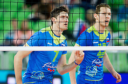 Matevz Kamnik #7 of Slovenia and Tine Urnaut #13 of Slovenia during qualifications match of FIVB Men's Volleyball World Championship 2014 between National teams of Slovenia and Israel in pool B on May 25, 2013 in Arena Stozice, Ljubljana, Slovenia. Slovenia defeated Hungary 3-0. (Photo By Vid Ponikvar / Sportida)
