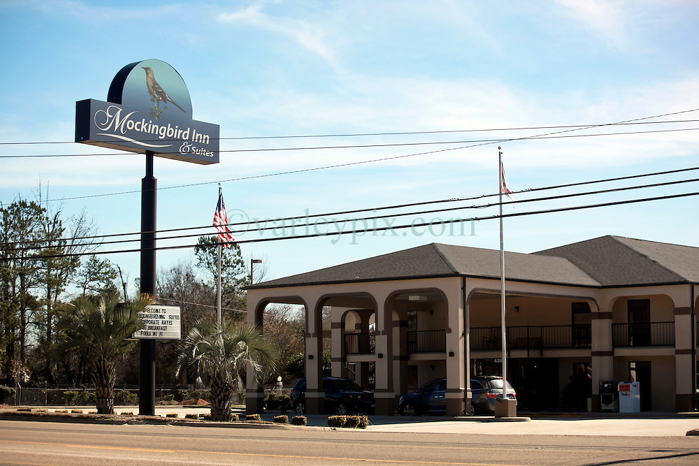 06 February 2015. Monroeville, Alabama.<br /> On the trail of Harper Lee's 'To Kill a Mocking Bird.'<br /> The Mocking Bird Inn  on the outskirts of town.<br /> Photo; Charlie Varley/varleypix.com