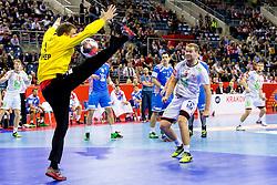 31.01.2016, Tauron Arena, Krakau, POL, EHF Euro 2016, Norwegen vs Kroatien, Spiel um Platz 3, im Bild Petter Overby (Nr. 9, Elverum Handball) gegen Ivan Stevanovic (Nr. 1, HC Ppd Zagreb). // during the 2016 EHF Euro 3rd place match between Norway and Croatia at the Tauron Arena in Krakau, Poland on 2016/01/31. EXPA Pictures © 2016, PhotoCredit: EXPA/ Eibner-Pressefoto/ Koenig<br /> <br /> *****ATTENTION - OUT of GER*****
