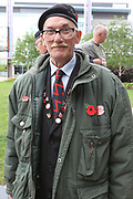 Elderly ex Veteran during the Soldier F Protest at Media City, Salford, United Kingdom on 18 May 2019.