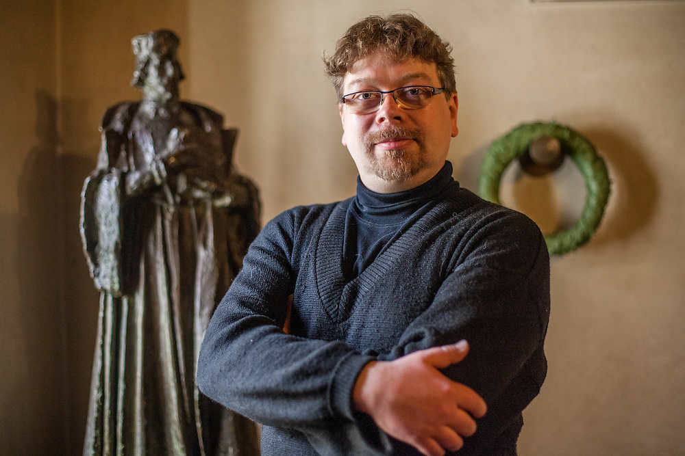 """Mgr. Jakub Smrcka - head of """"The Hussite Museum"""" in Tabor photographed in the fomer living place of Jan Hus at the Bethlehem Chapel in Prague."""