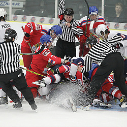 COBOURG, - Dec 14, 2015 -  Game #3 - United States vs Czech Republic at the 2015 World Junior A Challenge at the Cobourg Community Centre, ON. The pile in the Czech net during the second period. (Photo: Tim Bates / OJHL Images)