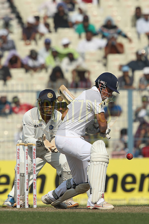 Alastair Cook - Captain of England during day two of the 3rd Airtel Test Match between India and England held at Eden Gardens in Kolkata on the 6th December 2012..Photo by Ron Gaunt/BCCI/SPORTZPICS ..Use of this image is subject to the terms and conditions as outlined by the BCCI. These terms can be found by following this link:..http://www.sportzpics.co.za/image/I0000SoRagM2cIEc