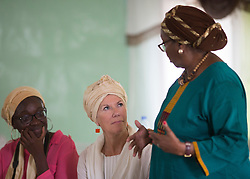 © Licensed to London News Pictures. 4/08/2015. Hargeisa, Somaliland.   Founder of the maternity teaching hospital in Hargeisa, Edna Adan Ismail (far right) discusses the issues of being a woman in Somaliland with Artistic Director of the Southbank Centre Jude Kelly (centre) as the first Women of the World event is held in Somaliland. <br /> <br /> The International Hargeisa Book Festival is being held in the city of Hargeisa within the Republic of Somaliland this week (1 - 6 Aug).   Over 700 guests are expected to attend along with renowned poets, writers and musicians from both Somaliland, Nigeria and the UK.   Photo credit : Alison Baskerville/LNP