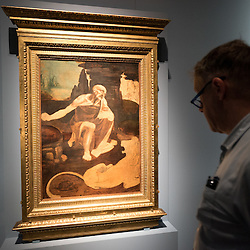 Foto Piero Cruciatti / LaPresse<br /> 14-04-2015 Milano, Italia<br /> Cultura<br /> Anteprima stampa della mostra &quot;Leonardo da Vinci 1452 - 1519&rdquo; a Palazzo Reale<br /> Nella Foto: un visitatore guarda 'San Gerolamo&rsquo;<br /> <br /> Photo Piero Cruciatti / LaPresse<br /> 14-04-2015 Milan, Italy<br /> Cultura<br /> Press preivew of the exhibition &quot;Leonardo da Vinci 1452 - 1519&rdquo; at Palazzo Reale <br /> In the Photo: a visitor looks up at 'San Gerolamo&rsquo;