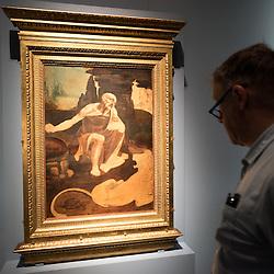 Foto Piero Cruciatti / LaPresse<br /> 14-04-2015 Milano, Italia<br /> Cultura<br /> Anteprima stampa della mostra &quot;Leonardo da Vinci 1452 - 1519&rdquo; a Palazzo Reale<br /> Nella Foto: un visitatore guarda 'San Gerolamo&rsquo;<br /> <br /> Photo Piero Cruciatti / LaPresse<br /> 14-04-2015 Milan, Italy<br /> Cultura<br /> Press preivew of the exhibition &quot;Leonardo da Vinci 1452 - 1519&rdquo; at Palazzo Reale <br /> In the Photo: a visitor looks up at 'San Gerolamo&rsquo;
