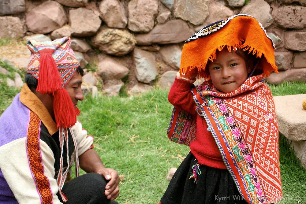 Americas, South America, Peru, Cusco. Father and daughter, Peru.