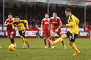Marc McNulty puts Sheffield United level from the spot during the Sky Bet League 1 match between Crawley Town and Sheffield Utd at Broadfield Stadium, Crawley, England on 28 February 2015. Photo by David Charbit.