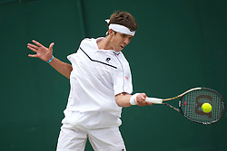 LONDON, ENGLAND - Tuesday, June 28, 2011: Jiri Vesely (CZE) in action during the Boys' Singles 2nd Round match on day eight of the Wimbledon Lawn Tennis Championships at the All England Lawn Tennis and Croquet Club. (Pic by David Rawcliffe/Propaganda)