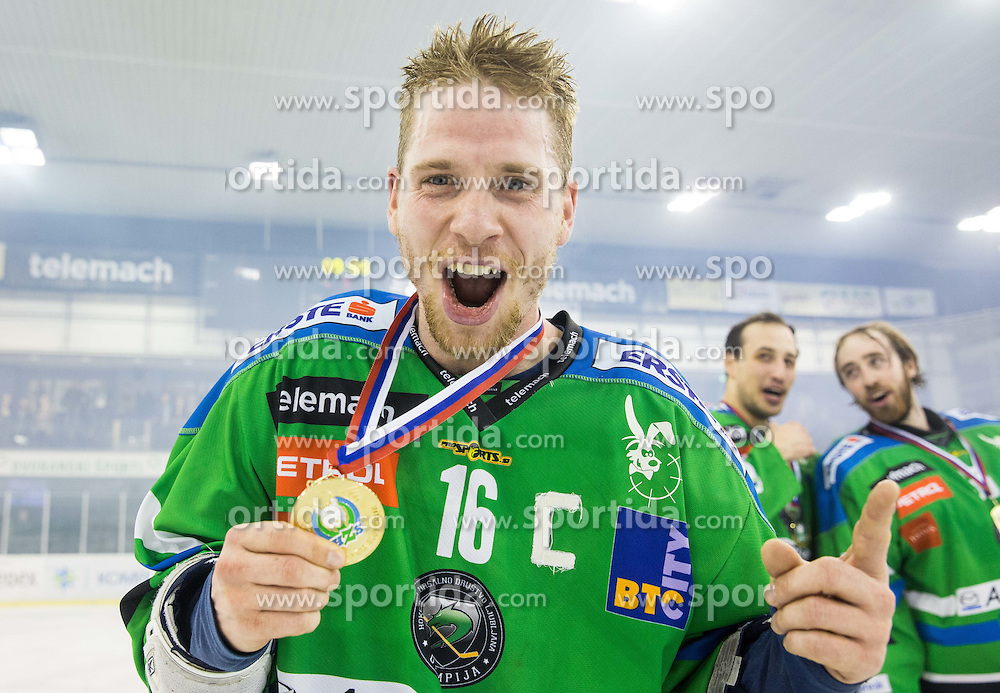 Ales Music of Olimpija celebrates after they became Slovenian National Champion 2016 after winning during ice hockey match between HDD Telemach Olimpija and HDD SIJ Acroni Jesenice in Final of Slovenian League 2015/16, on April 11, 2016 in Hala Tivoli, Ljubljana, Slovenia. Photo by Vid Ponikvar / Sportida