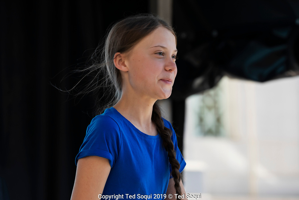 Climate activist Great Thunberg speaks a youth climate strike rally in Los Angeles.<br /> 11/1/2019 Los Angeles, CA. USA<br /> (Photo by Ted Soqui/SIPA USA)