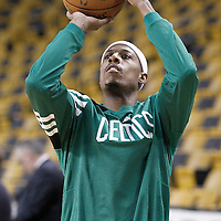 01 June 2012: Boston Celtics small forward Paul Pierce (34) warms up prior to Game 3 of the Eastern Conference Finals playoff series, Heat vs Celtics at the TD Banknorth Garden, Boston, Massachusetts, USA.