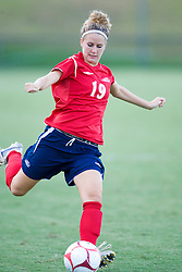 Liberty Flames midfielder Rachel Michener (19) in action against UVA.  The Virginia Cavaliers defeated the Liberty Flames 5-0 in women's soccer at Klockner Stadium on the Grounds of the University of Virginia in Charlottesville, VA on August 29, 2008.