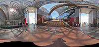 Kyoto Train Station Level Three -- 360 Degree Panorama. Composite of 66 images taken with a Leica CL camera and 18 mm f/2.8 lens (ISO 400, 18 mm, f/11, 1/60 sec). Raw images processed with Capture One Pro and AutoPano Giga Pro.