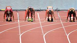 23-08-2015 CHN: IAAF World Championships Athletics day 2, Beijing<br /> Zonder een meter te lopen is de 100 meter op de WK atletiek in Peking alweer voorbij voor Jamile Samuel. De Amsterdamse sprintster maakte in de eerste ronde een valse start en kreeg de rode kaart. r-l Marie-Josee TA LOU CIV, Rebekka HAASE GER, Jamile SAMUEL NED en Nediam VARGAS.<br /> Photo by Ronald Hoogendoorn / Sportida