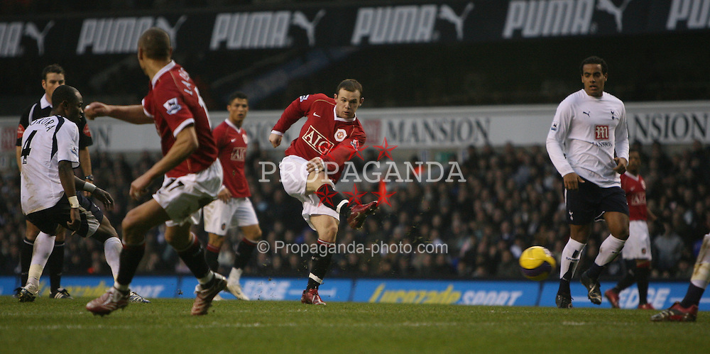 London, England - Sunday, February 4, 2007: Manchester United's Wayne Rooney shoots against Tottenham Hotspur during the Premiership match at White Hart Lane. (Pic by Chris Ratcliffe/Propaganda)