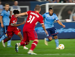 September 26, 2018 - Bronx, New York, US - New York City FC midfielder ISMAEL TAJOURI (29) dribbles the ball defended by Chicago Fire midfielder BASTIAN SCHWEINSTEIGER (31) during a regular season match at Yankee Stadium in Bronx, New York.  New York City FC defeats Chicago Fire 2 to 0 (Credit Image: © Mark Smith/ZUMA Wire)