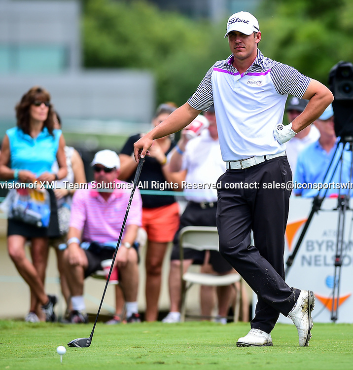May 29, 2015: Brooks Koepka ready to tee off on #16 during second round play of the AT&T Byron Nelson Championship at TPC Four Seasons in Irving, Texas.