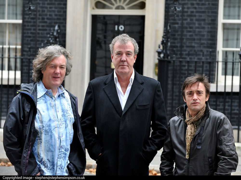 © Licensed to London News Pictures. 29/11/2011, London, UK. L-R JAMES MAY, JEREMY CLARKSON, RICHARD HAMMOND.  TV programme,Top Gear, filming in Downing Street today 29 November 2011.  Photo credit : Stephen Simpson/LNP