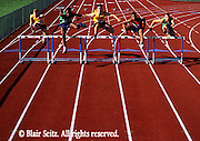 Outdoor recreation, Competitive Running, Track and Field, High School Runners Hurdle Jumps, High Hurdles