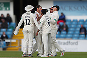 James Fuller of Hampshire celebrates after bowling Tom Kohler-Cadmore of Yorkshire during the opening day of the Specsavers County Champ Div 1 match between Yorkshire County Cricket Club and Hampshire County Cricket Club at Headingley Stadium, Headingley, United Kingdom on 27 May 2019.