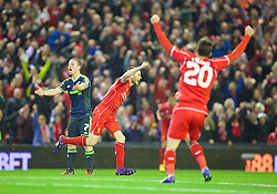 LIVERPOOL, ENGLAND - Tuesday, September 23, 2014: Liverpool's Jordan Rossiter celebrates scoring the first goal against Middlesbrough on his debut during the Football League Cup 3rd Round match at Anfield. (Pic by David Rawcliffe/Propaganda)