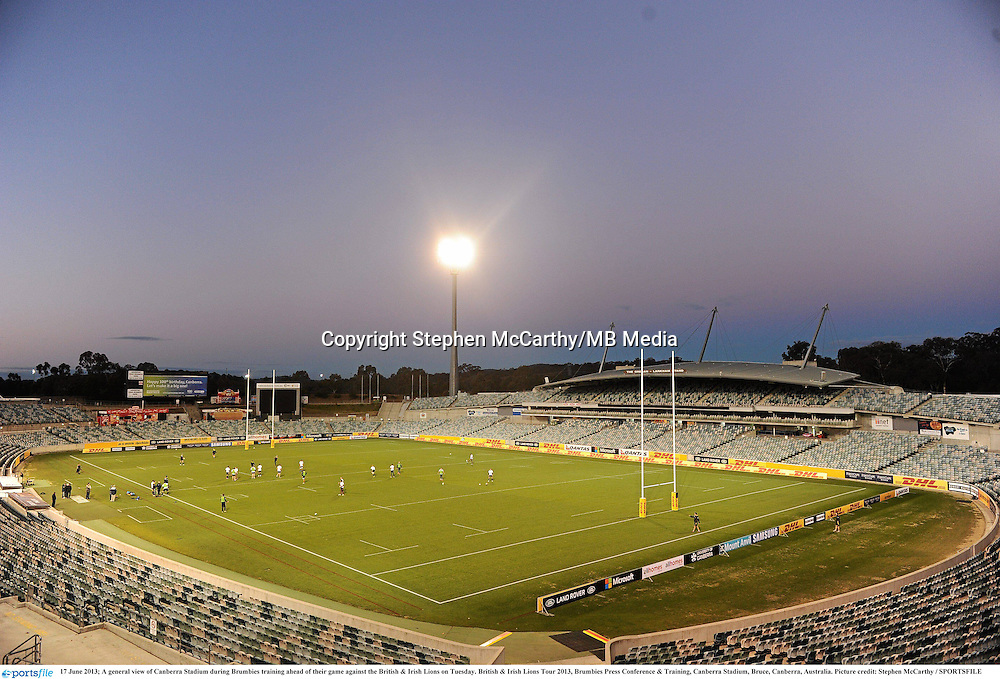17 June 2013; A general view of Canberra Stadium during Brumbies training ahead of their game against the British & Irish Lions on Tuesday. British & Irish Lions Tour 2013, Brumbies Press Conference & Training, Canberra Stadium, Bruce, Canberra, Australia. Picture credit: Stephen McCarthy / SPORTSFILE