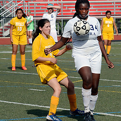 O'Hara's Tamara Das (34) controls the ball in front of upper Darby's Liz Miceli (7) during the first half of the Upper Darby at Cardinal O'Hara girls soccer game, Wednesday September 3, 2014.  (Times staff / TOM KELLY IV)