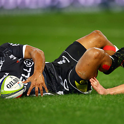DURBAN, SOUTH AFRICA, 9,JULY, 2016 Rhyno Smith of the Cell C Sharks during The Cell C Sharks vs Toyota Cheetahs  Super Rugby Match at Growthpoint Kings Park in Durban, South Africa. (Photo by Steve Haag)<br /> <br /> images for social media must have consent from Steve Haag