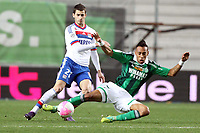 FOOTBALL - FRENCH CHAMPIONSHIP 2011/2012 - L1 - AS SAINT ETIENNE v OLYMPIQUE LYONNAIS - 17/03/2012 - PHOTO EDDY LEMAISTRE / DPPI - MAXIME GONALONS (OL) AND PIERRE EMERICK AUBAMEYANG (ASSE)