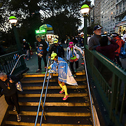 November 1, 2015 - New York, NY : Runners gingerly descend the stairs into the West 81st Street B/C Subway station after completing the 2015 TCS New York City marathon on Sunday.<br />  CREDIT: Karsten Moran for The New York TImes