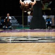 The Lady Bighorn Dancers flip during a break in the action of the NBA G-League Basketball game between the Reno Bighorns and the Raptors 905 at the Reno Events Center in Reno, Nevada.