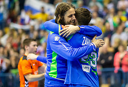 Dean Bombac of Slovenia and Miha Zarabec of Slovenia celebrate after winning during handball match between National teams of Slovenia and Netherlands in Qualifications of 2020 Men's EHF EURO, on April 14, 2019, in Arena Zlatorog, Celje, Slovenia. Photo by Vid Ponikvar / Sportida