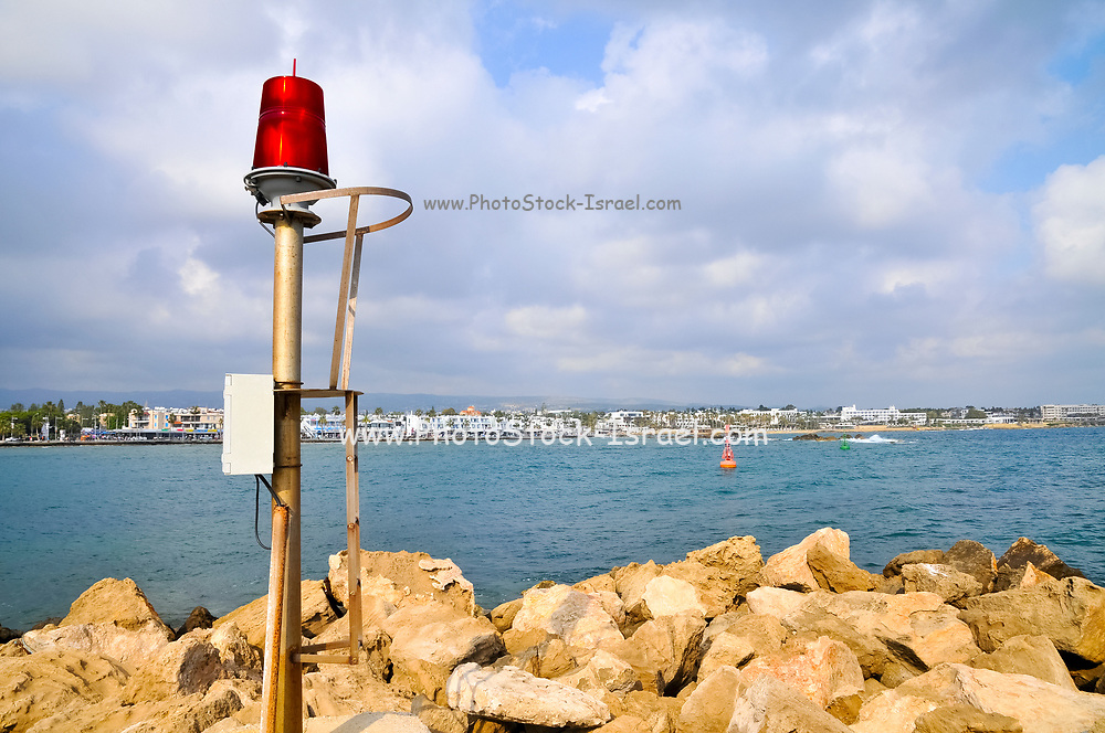 Red light buoy, marks the entrance to the port of Paphos, Bay of Paphos, Cyprus
