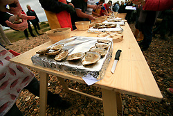 UK ENGLAND WEST MERSEA 13SEP09 - Oysters are prepared for consumption after the annual Oyster dredge match off the coast of West Mersea, Essex, England.....jre/Photo by Jiri Rezac / WWF UK....© Jiri Rezac 2009