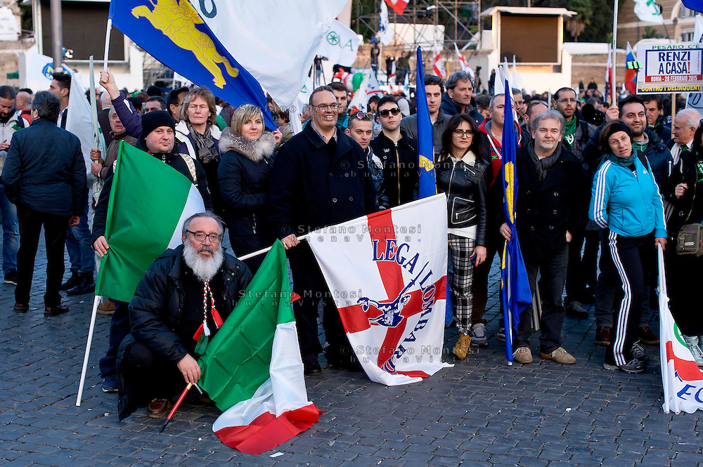 Roma 28 Febbraio 2015<br /> &quot;Renzi a casa!' - Manifestazione della Lega Nord in piazza del Popolo contro il Governo Renzi, e  contro l'Euro. Il popolo della Lega Nord<br /> Rome February 28, 2015<br /> &quot;Renzi at home! '- Demonstration of the Northern League in Piazza del Popolo against the government Renzi, and against the Euro. The people of the Northern League