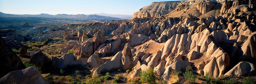 TURKEY, ANATOLIA, CAPPADOCIA landscape of eroded volcanic 'tuff', Urgup