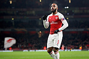 Arsenal's Alexandre Lacazette (9) celebrates his goal 1-0 Arsenal during the Europa League group stage match between Arsenal and FK QARABAG at the Emirates Stadium, London, England on 13 December 2018.