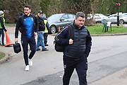 AFC Wimbledon coach Simon Bassey and AFC Wimbledon goalkeeper Joe McDonnell (24) arriving during the EFL Sky Bet League 1 match between AFC Wimbledon and Rochdale at the Cherry Red Records Stadium, Kingston, England on 8 December 2018.