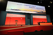 Labour Party Annual Conference<br /> Brighton<br /> 27-30 September<br /> Stage set at the main conference hall.