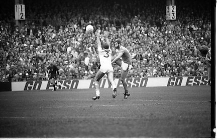 The All Ireland Senior Football Final.1982.19.09.1982.09.19.1982.19th September 1982..The senior final was contested between Offaly and Kerry. Offaly won the title by the narrowest of margins 1.15 to 17 points..Liam O'Connor (3) tries in vain to stop liston scoring a point for Kerry.