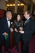 SIR JOHN RICHARDSON; SHELLEY WANGER; DAVID DAWSON, The London Library Annual  Life in Literature Award 2013 sponsored by Heywood Hill. The London Library Annual Literary dinner. London Library. St. james's Sq. London. 16 May 2013.